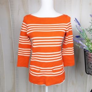 J. Crew Orange Striped 3/4 Sleeve Knit Top